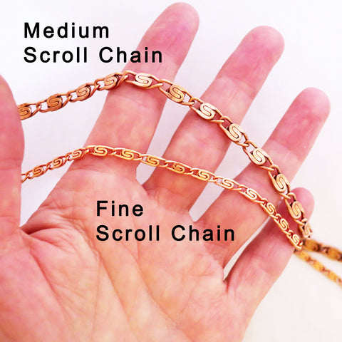 Celtic Copper Jewelry Set Of Fine Scroll Chains SET61, Matching Solid Copper Necklace Chain And Copper Bracelet Chain