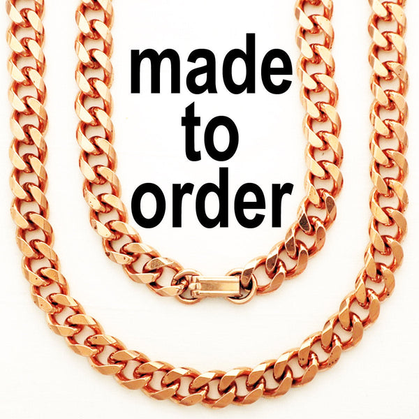Custom Necklace Chain Cuban Curb Chain Necklace NC76M Heavy 10mm Copper Curb Chain Necklace Custom Size Chain