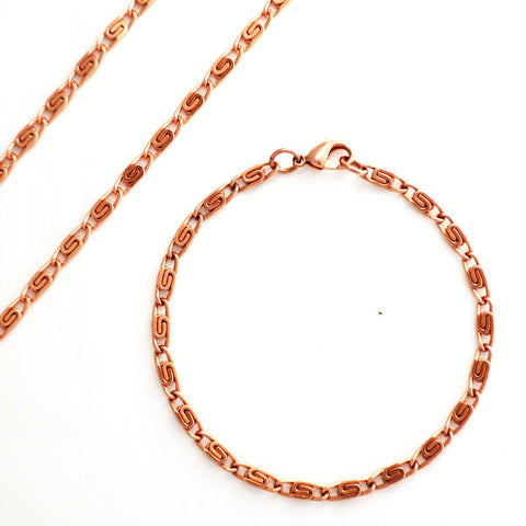 Celtic Copper Jewelry Set Of Fine Scroll Chains SET61 Matching Solid Copper Necklace Chain And Copper Bracelet Chain