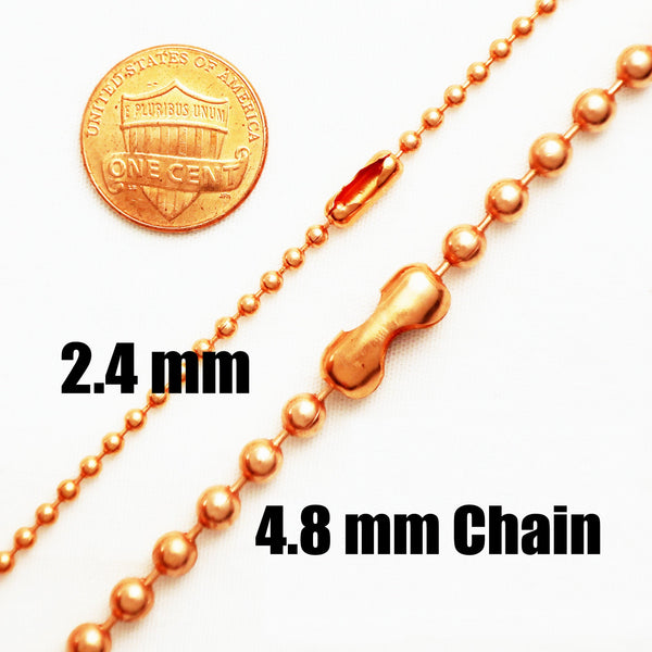 Solid Copper Necklace Chains Bead Chain Necklace Set NC22 Fine Copper 2.4 mm Ball Chain Necklace Chains 24 Inch Chain Bulk Lot of 10