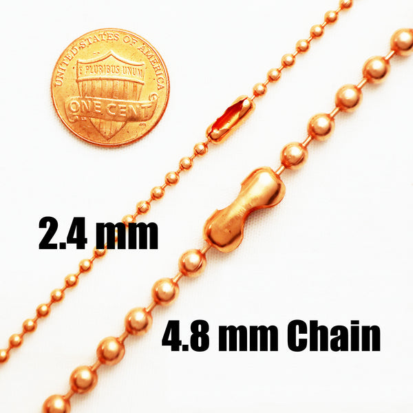 Bulk Lot of 10 Fine Copper Bead Chain Necklace NC22 Fine Solid Copper 2.4 mm Ball Chain Necklace Chain Sizes 18, 20 And 24 Inch