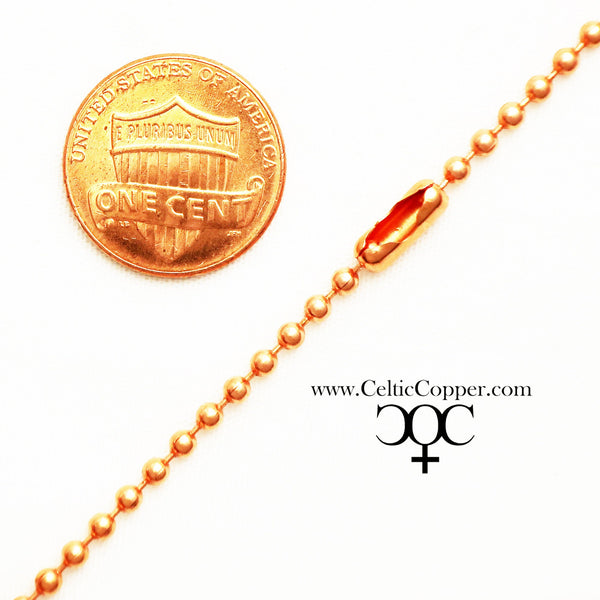 Custom Necklace Chain Solid Copper Bead Chain Necklace NC24M Fine Ball Chain 2.4mm Copper Necklace Chain Custom Sizes