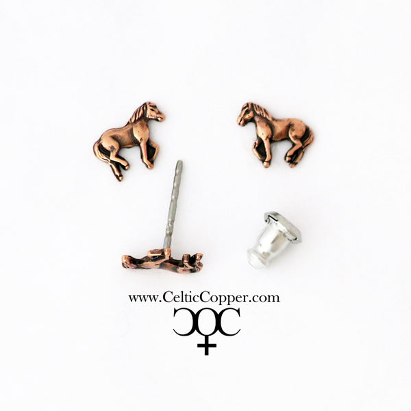 Copper Walking Horse Motif Earring Studs EC25 Solid Copper Jewelry Post Earrings with Hypoallergenic Steel Post