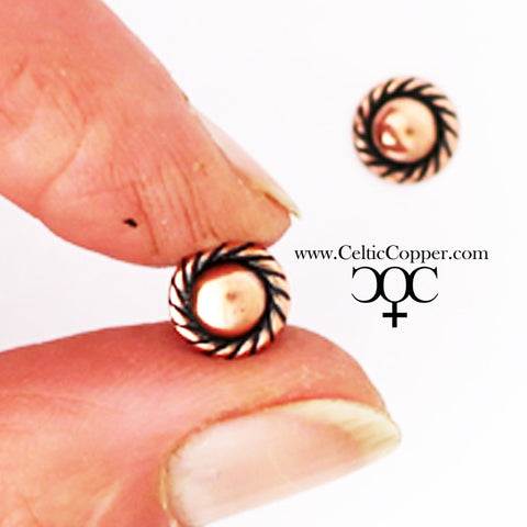 Rope Edged Copper Earring Studs EC12 Solid Copper Jewelry Post Earrings with Hypoallergenic Steel Posts