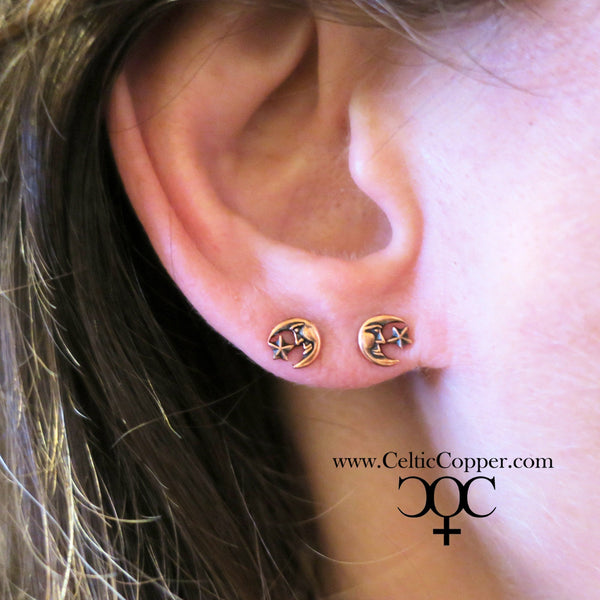 Copper Moon and Star Earring Studs EC26 Solid Copper Stud Earrings with Hypoallergenic Steel Posts