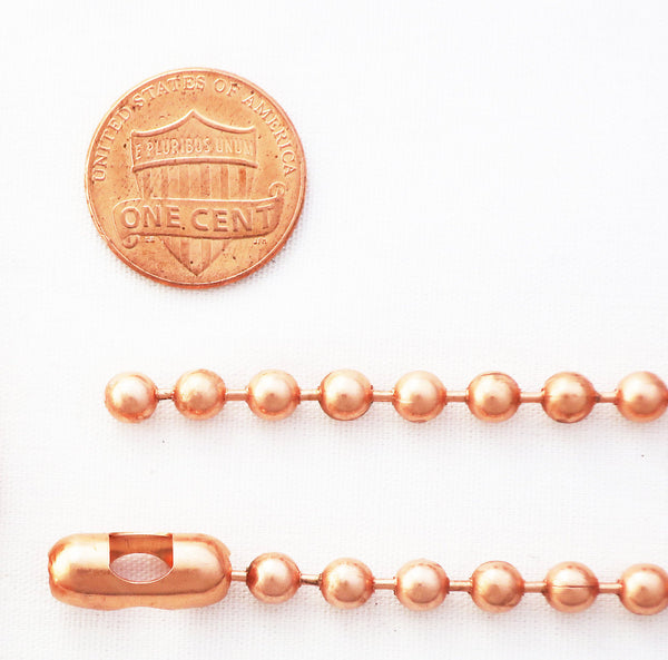 Solid Copper Necklace Chain Copper Bead Chain Necklace NC48 Medium 4.8mm Copper Necklace Chain 18 20 24 36 Inch Chain