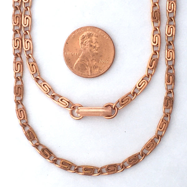 Solid Copper Necklace Chain Celtic Copper Scroll Chain Necklace NC61 Fine 4mm Celtic Scroll Chain Copper Necklaces 24 Inch Chain