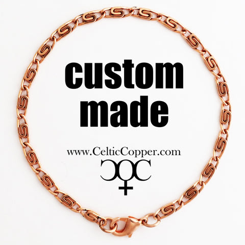 Custom Bracelet Chain Fine Celtic Copper Scroll Chain Bracelet 3mm C61M Custom Size Solid Copper Bracelet Chain