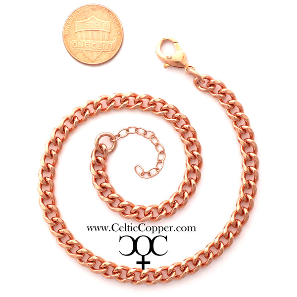 Solid Copper Ankle Bracelet Medium Cuban Curb Chain Anklet AC72 Adjustable Solid Copper Ankle Chain