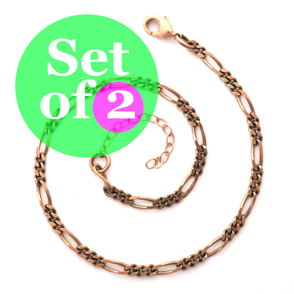 Solid Copper Anklet Set Fine Figaro Chain Anklet Bracelets AC41M Matching Set of 2 Solid Copper Anklet Chains