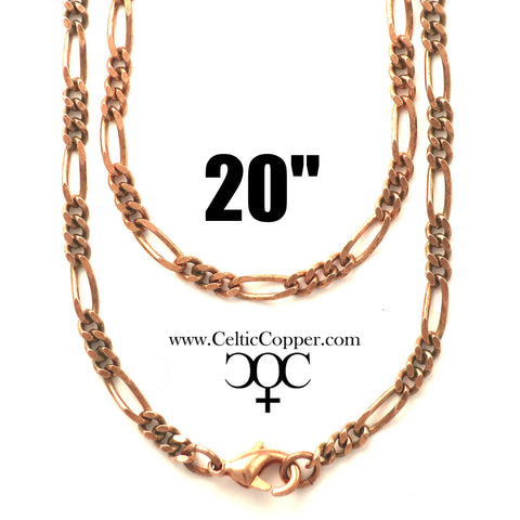 Solid Copper Necklace Chain Fine Copper Figaro Chain Necklace NC41 Italian Style Figaro Solid Copper Chain Necklace 20 Inch Chain