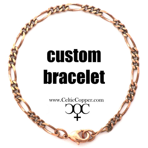 Custom Bracelet Chain Solid Copper Fine Figaro Chain Bracelet BC41M Custom Size Copper Bracelet Chain