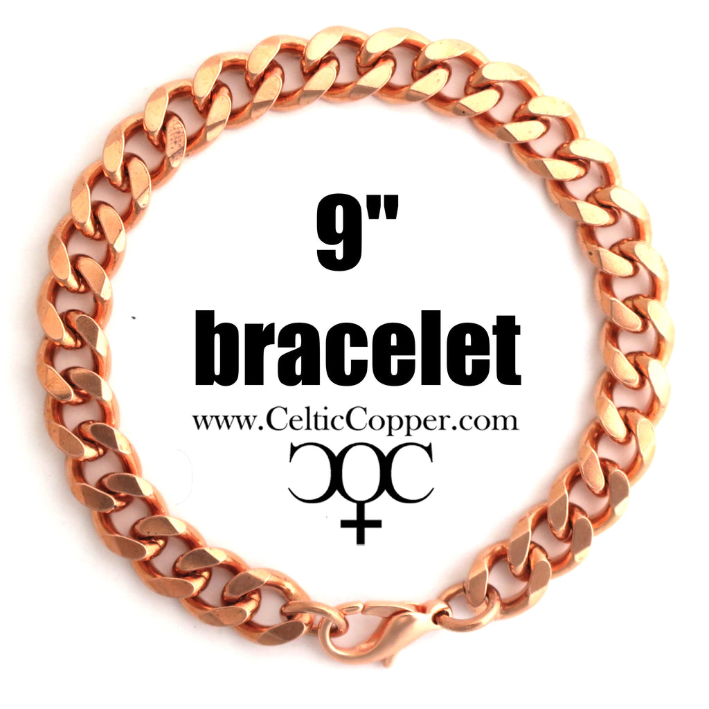 Solid Copper Bracelet Chain BC76-9 Heavy 10mm Copper Cuban Curb Chain Bracelet 9""