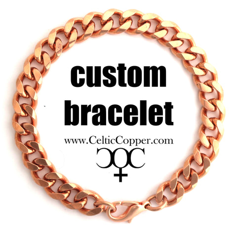 Custom Bracelet Chain Solid Copper 10mm Heavy Cuban Curb Chain Bracelet CB76M Custom Size Copper Bracelet Chain