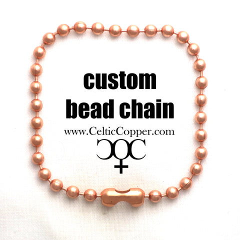 Custom Bracelet Chain Fine Copper Bead Chain Bracelet C24M Custom Size Solid Copper Bracelet Chain