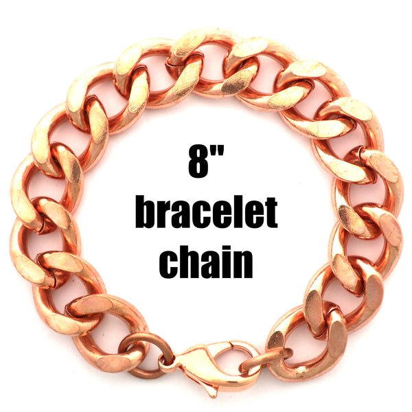 Solid Copper Bracelet Chain Super Chunky Curb Chain Bracelet B162-8 Men's Copper Cuban Curb Chain Bracelet 8""