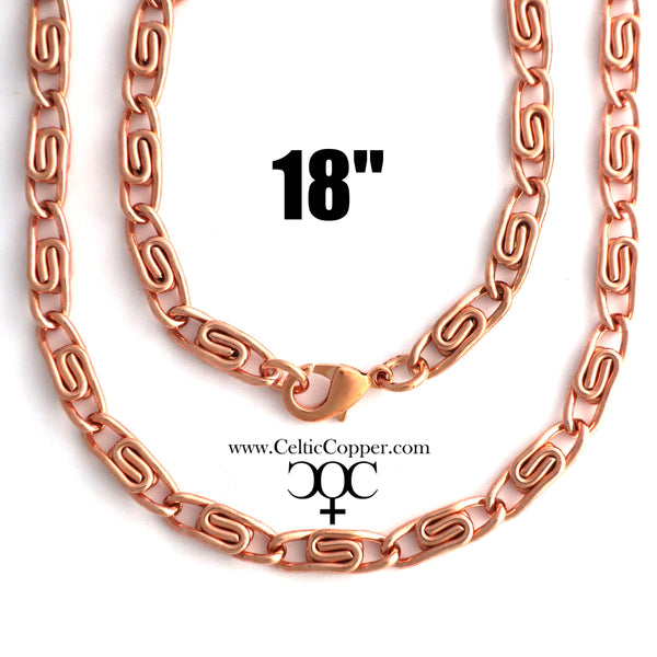 Solid Copper Necklace Chain Celtic Scroll Chain Necklace NC66 Medium 5mm Copper Necklace Celtic Copper Necklace 18 Inch Chain