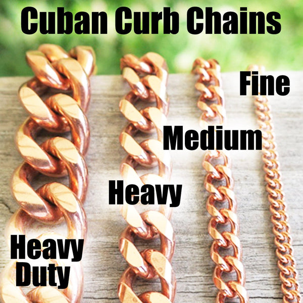Solid Copper Necklace Chain Medium 5mm Cuban Curb Chain Necklace NC72 Pure Copper Curb Curb Chain Necklace 24 Inch Chain