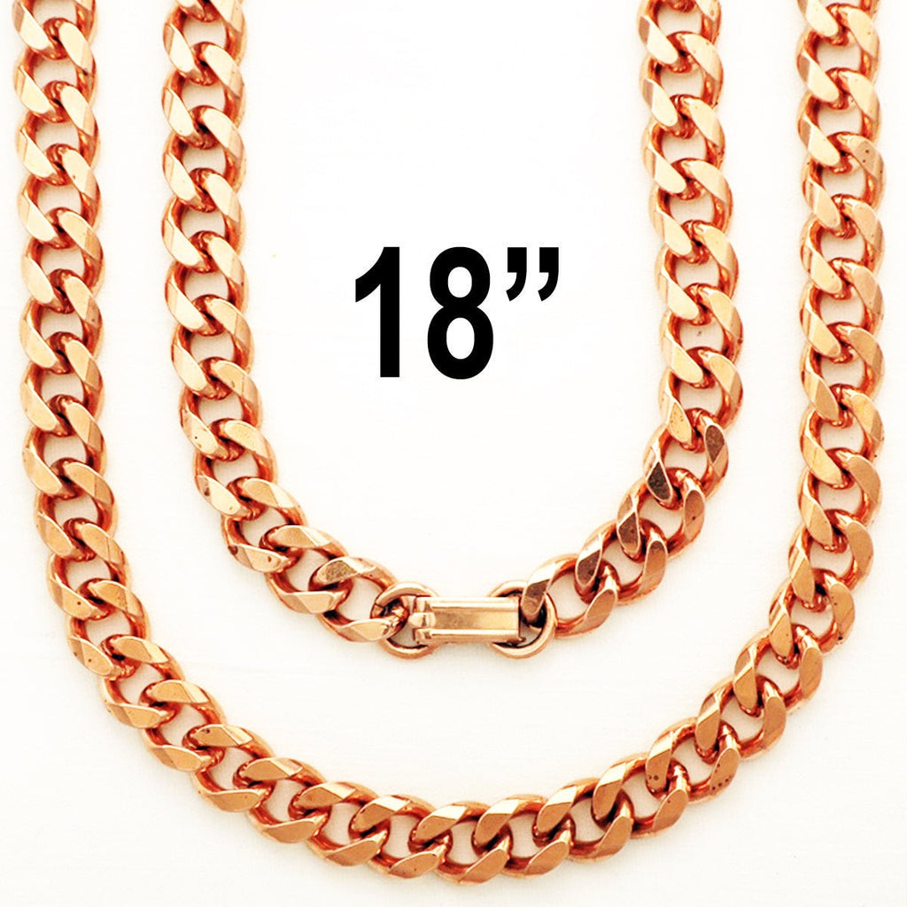 Solid Copper Necklace Chain Heavy Cuban Curb Chain Necklace NC76 Rugged 10mm Solid Copper Curb Chain Necklace 18 Inch Chain