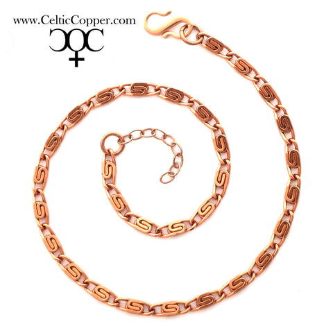 Solid Copper Ankle Bracelet Fine Celtic Scroll Chain Anklet AC61 Adjustable Fine Solid Copper Celtic Ankle Chain