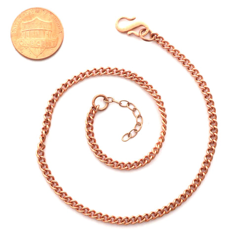 Solid Copper Ankle Bracelet Fine Cuban Curb Chain AC71 Lightweight Adjustable Copper Anklet Chain
