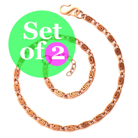 Solid Copper Anklet Set Celtic Scroll Chain Anklets AC61S Adjustable Matching Copper Ankle Chains