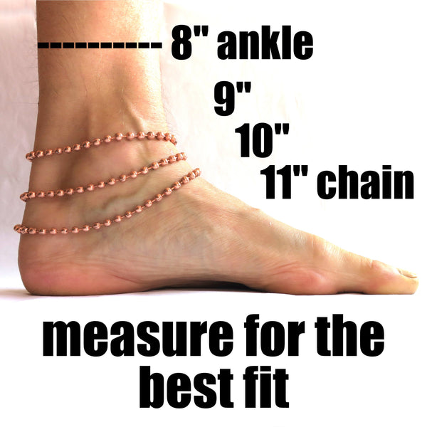 Solid Copper Anklet Set Celtic Scroll Chain Ankle Bracelets Set AC66S Adjustable Medium Copper Scroll Chain Anklet Set of 2