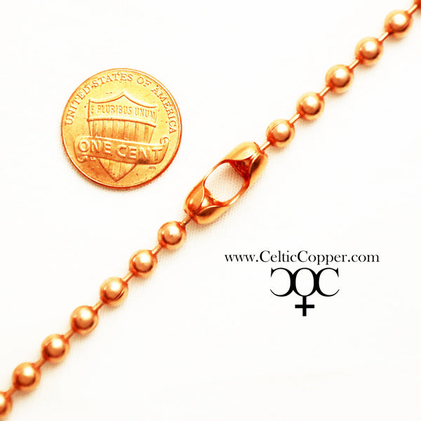Custom Necklace Chain Solid Copper Bead Chain Necklace NC48M Medium Ball Chain 4.8mm Copper Necklace Chain Custom Sizes