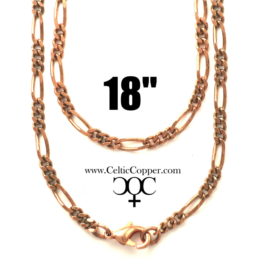 Solid Copper Necklace Chain Fine Copper Figaro Chain Necklace NC41 Italian Style Figaro Solid Copper Chain Necklace 18 Inch Chain