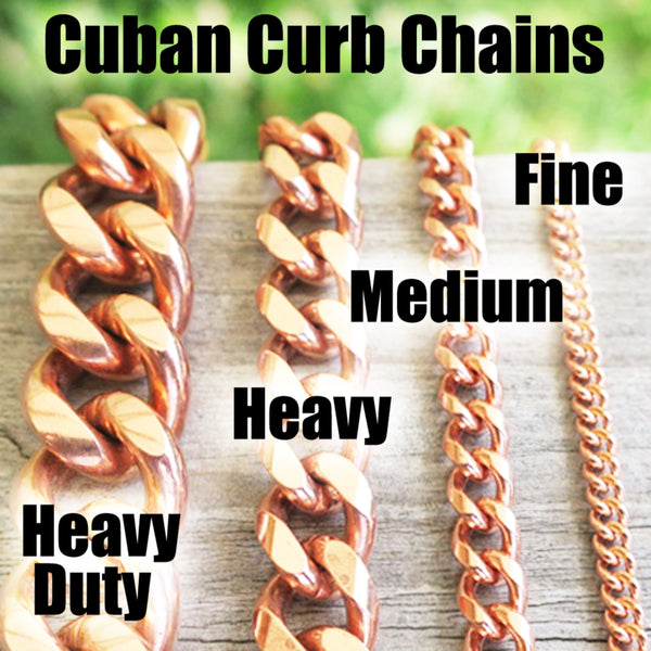 Solid Copper Bracelet Chain BC76-8 Heavy 10mm Copper Cuban Curb Chain Bracelet 8""