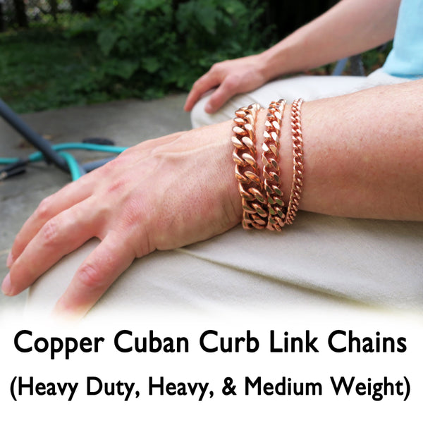 Custom Bracelet Chain Solid Copper Curb Chain Bracelet BC72 Medium 5mm Solid Copper Bracelet Chain Custom Size
