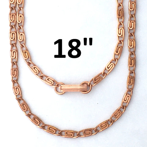 Solid Copper Necklace Chain Celtic Copper Fine Scroll Chain Necklace NC61 Celtic Necklace Chain Solid Copper Necklace 18 Inch Chain