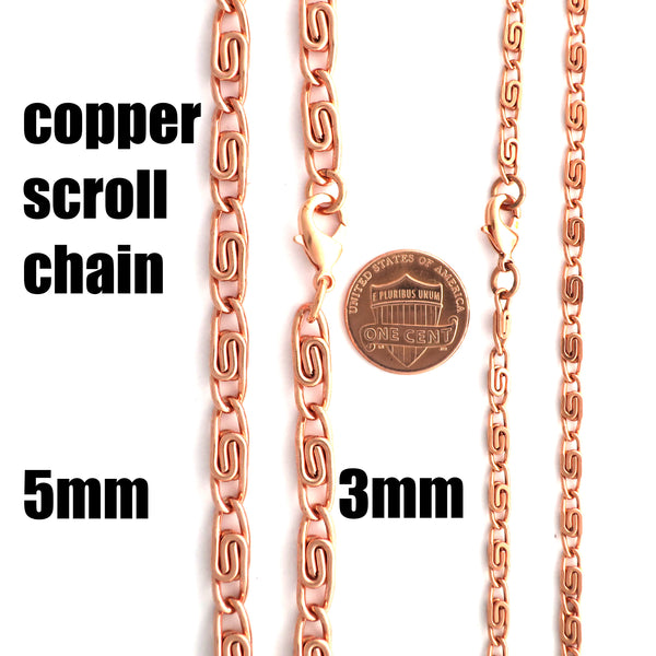 Solid Copper Necklace Chain Celtic Scroll Chain Necklace NC66 Medium 5mm Copper Necklace Celtic Copper Necklace 24 Inch Chain