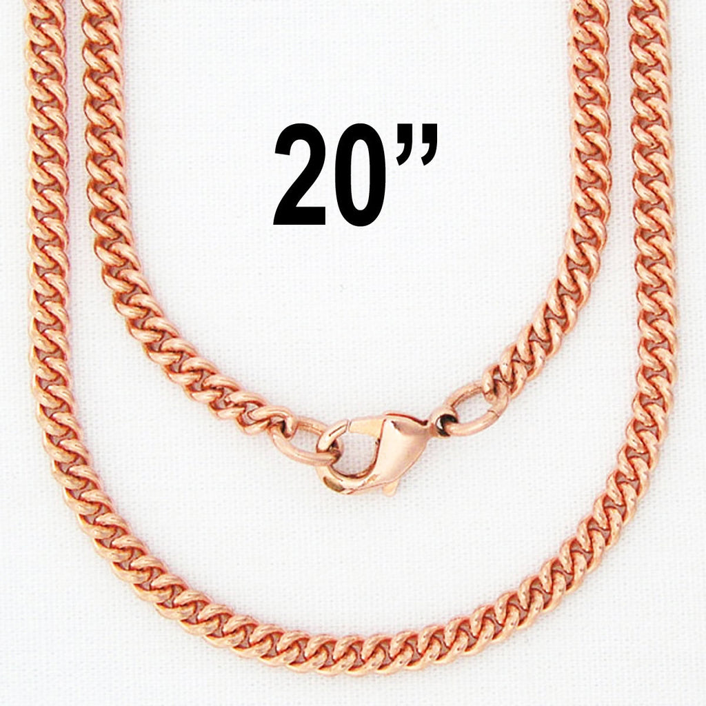 Solid Copper Necklace Chain Fine 3mm Cuban Curb Chain Necklace NC71 Solid Copper Chain Necklace 20""