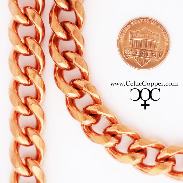 Solid Copper Necklace Chain Heavy Duty Cuban Curb Chain Necklace NC79 Extra Heavy 13mm Copper Curb Chain Necklace 18 Inch Chain