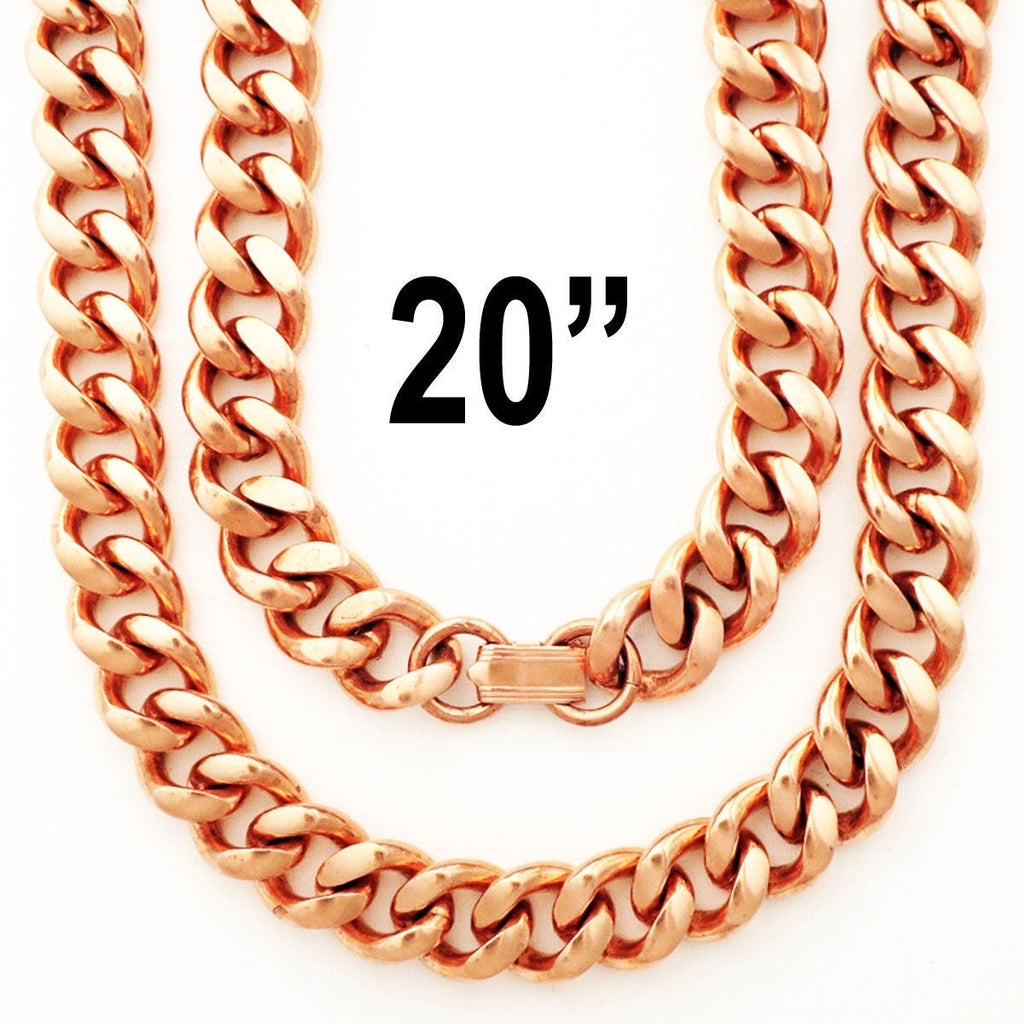 Solid Copper Necklace Chain Heavy Duty Cuban Curb Chain Necklace NC79 Extra Heavy 13mm Copper Curb Chain Necklace 20 Inch Chain