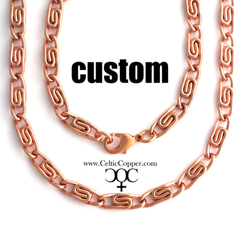 Custom Necklace Chain Solid Copper Celtic Scroll Chain Necklace NC66M Medium 5mm Celtic Copper Necklace Custom Size Chain