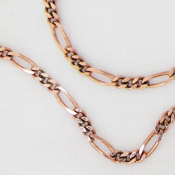 Fine Figaro Solid Copper Chain by the Foot FCC41, Solid Copper Unfinished Bulk Chain, Jewelry Supplies For Making Pure Copper Jewelry