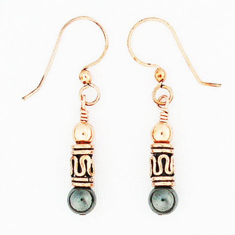 Copper Earrings With Colorful Gemstones And Handmade Pipeline Copper Beads