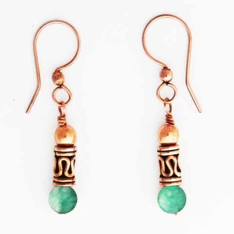 Copper Earrings With Russian Blue Amazonite And Handmade Copper Beads ECD21RA Solid Copper Earrings With Colorful Gemstone Beads