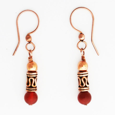 Copper Earrings With Handmade Copper and Gemstone Beads ECD21X Solid Copper Earrings With Choice of Colorful Gemstone Beads