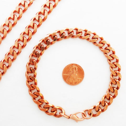 Men's Copper Jewelry Set Heavy Cuban Chains SET76, Curb Link Solid Copper Necklace And Matching Copper Bracelet Set