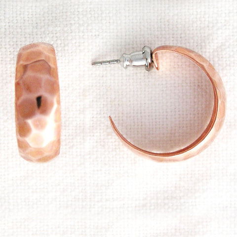 Hammered Copper Hoop Earrings EC78 Solid Copper Jewelry Post Style Copper Hoop Earrings
