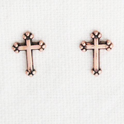 Copper Florentine Cross Earring Studs EC404 Solid Copper Post Earring Stud Earrings with Hypoallergenic Steel Post and Clutches