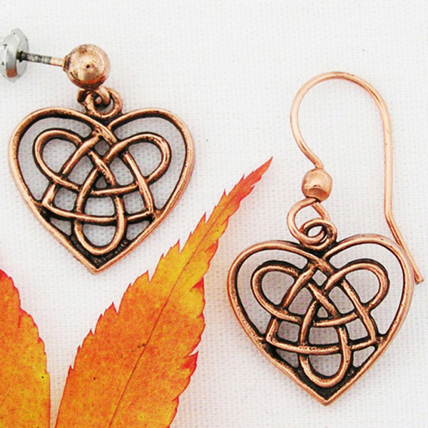 Celtic Knot Work Copper Heart Shaped Earrings ECD02 Solid Copper Knotwork Heart Shaped Earrings