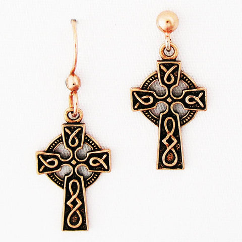 Celtic Knot Work Cross Copper Earrings ED01 Solid Copper Drop Style Earrings