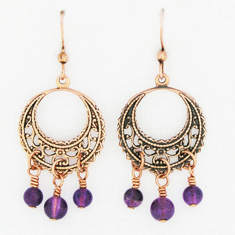 Copper Filigree Earrings with Three Gemstone Drops ECD48G3 Solid Copper Earrings With Colorful Gemstones