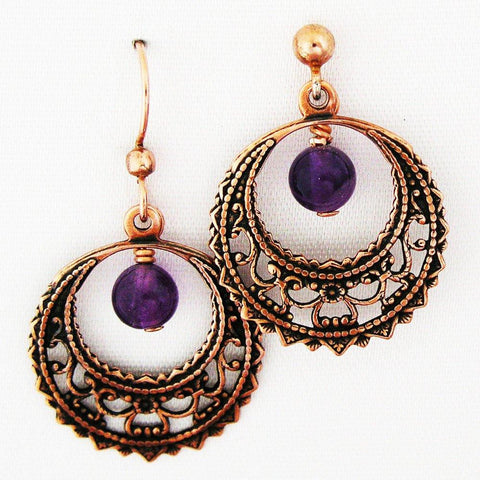 Copper Filigree Crescent Hoop Earrings with Gemstone Drops ECD48G Solid Copper Earrings With Gemstones