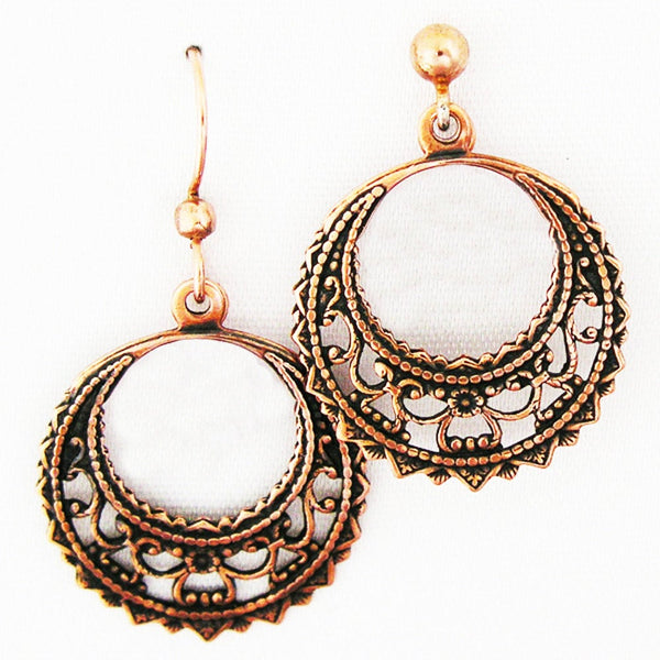 Copper Filigree Round Crescent Earrings with Beaded Freshwater Pearl Fringe ECD48P6 Solid Copper Earrings with Pearls
