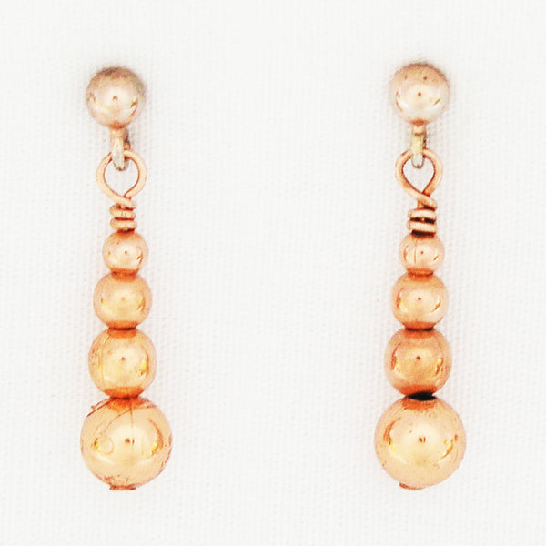 Solid Copper Earrings with Graduated Round Beaded Drops ECD50 Solid Copper Beaded Dangle Earrings